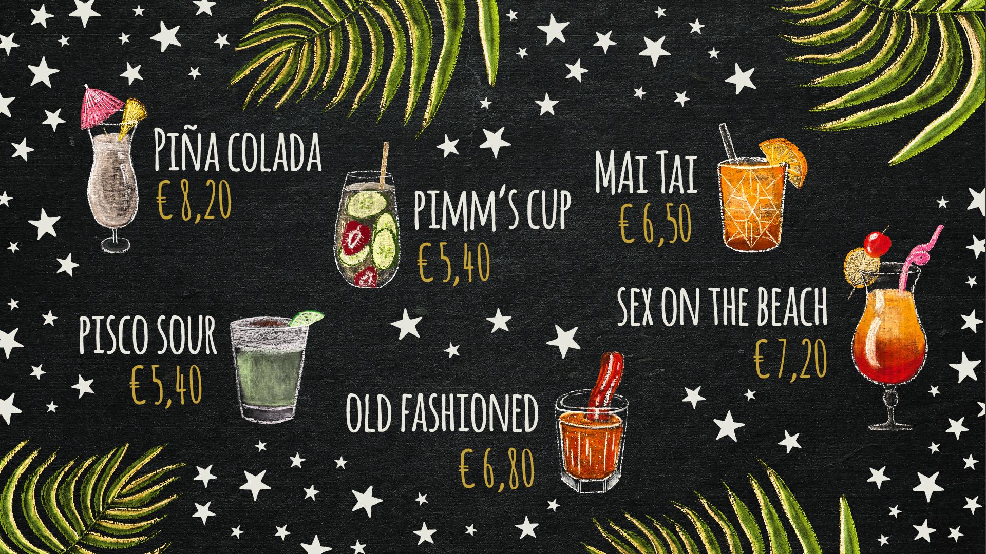 Cocktailkarte im kultigen Kreidetafellook