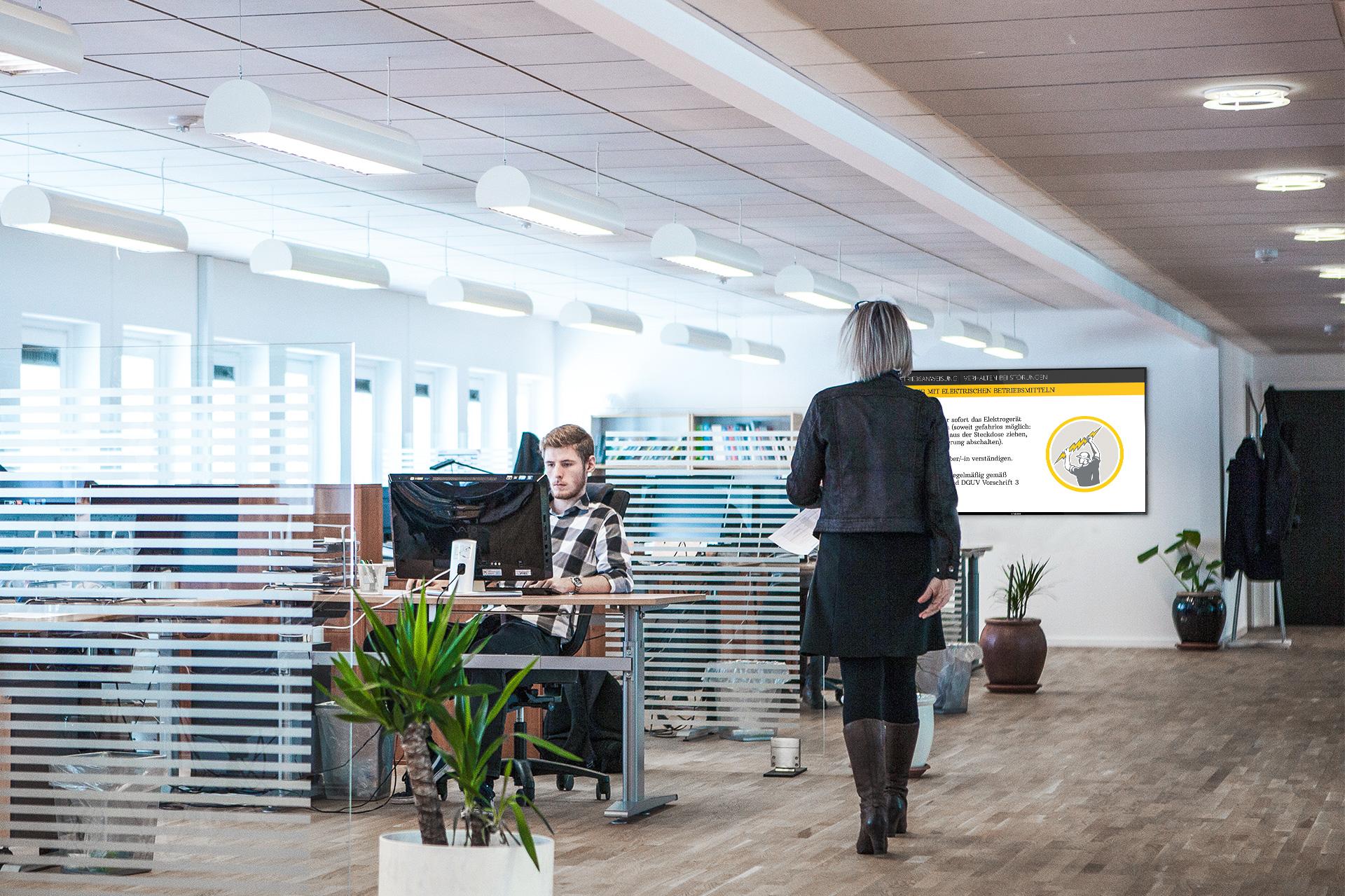 WESUAL interne Kommunikation - digitales schwarzes Brett im Office - digital Blackboard