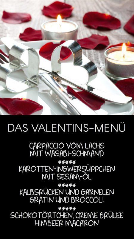 Bewerbung von besonderen Anlässen: Valentins-Menü